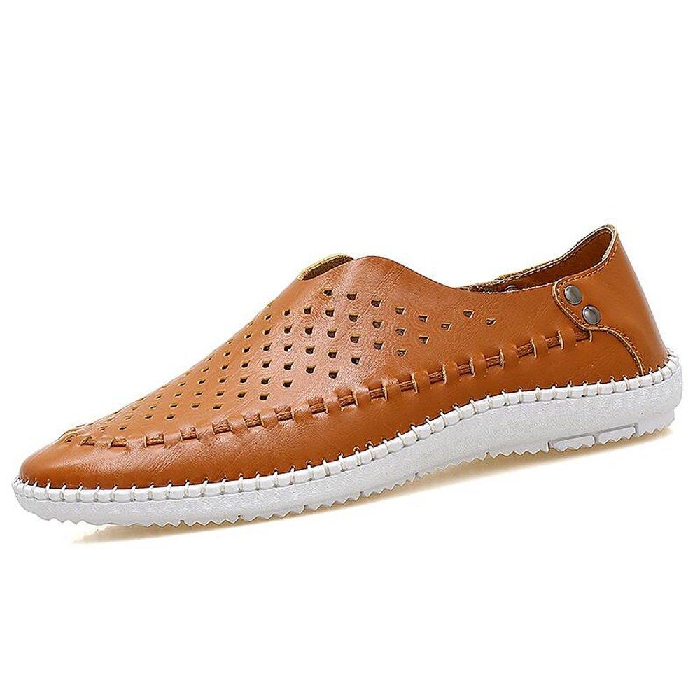 Zapatos de cuero casuales de verano para hombres Zapatos de guisantes para hombres Zapatos perezosos de los hombres cómodos Office Street Fashion Cuero azul blanco marrón GAOLIXIA ( Color : Brown , tamaño : 44 ) 44|Brown