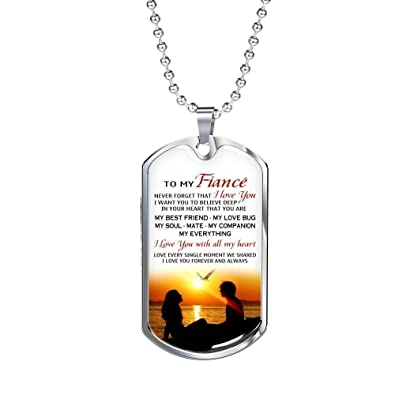 To My Future Husband Dog Tag Military Fiance Necklace Pendant