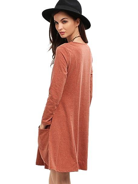 SHEIN de las mujeres? Manga Larga Bolsillos cuello redondo Casual vestido - marrón medio: Amazon.es: Ropa y accesorios