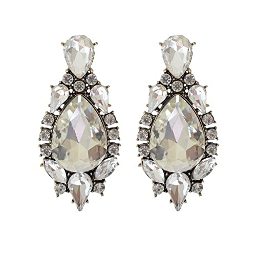 17e0c964d Amazon.com: Vintage Statement Earrings For Women Gift | Big Rhinestones Art  Deco Dangle Earrings (Clear Design): Jewelry