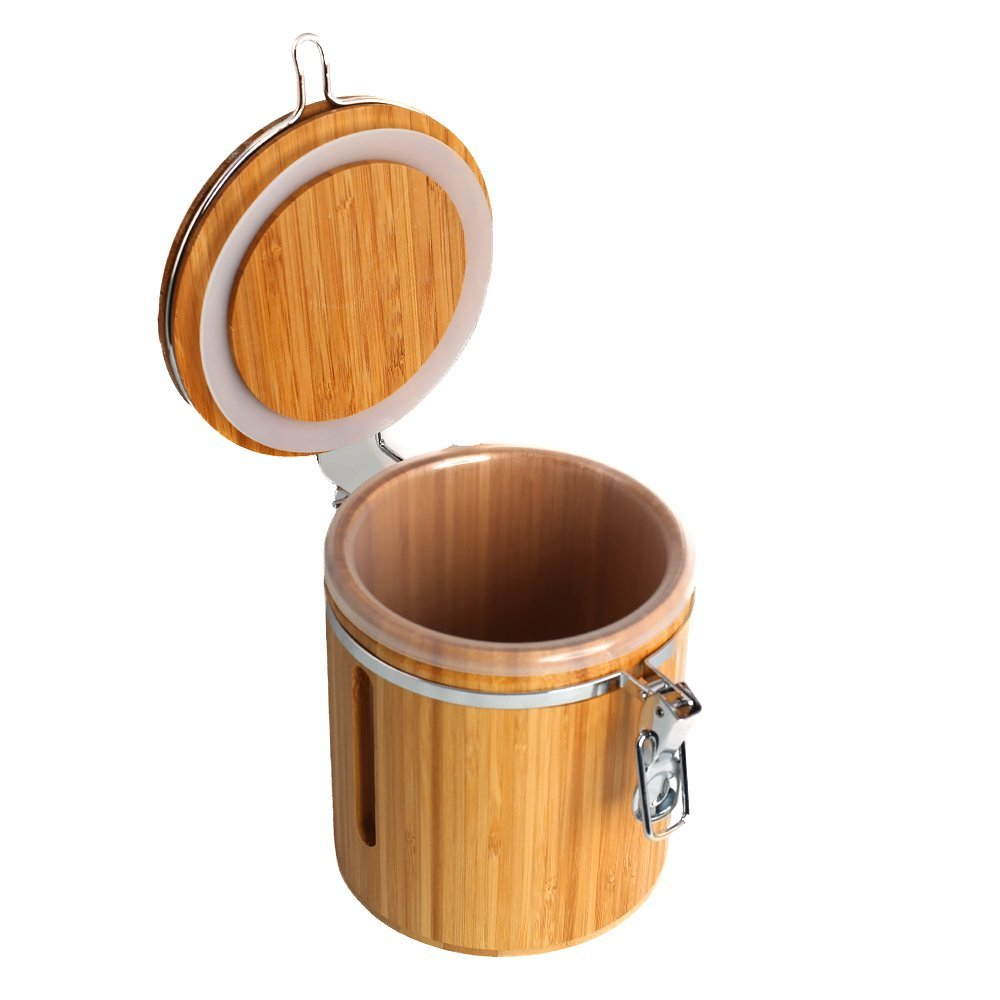 Wansu Bamboo Food Storage Jar Canister with Lids;Medium