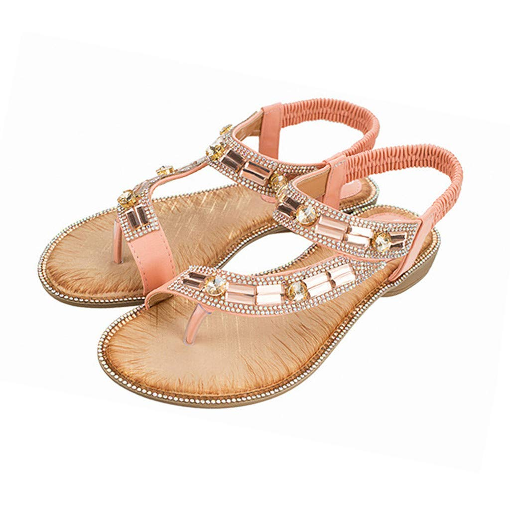 Mysky Fashion Women Summer Bohemian Casual Crystal Clip Toe Elastic Band Sandals Pink by Mysky (Image #2)