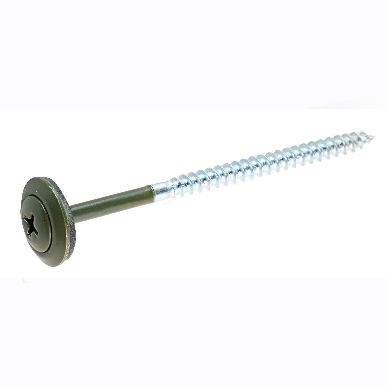 Green ONDURA 3274 2.87 Roofing Screw w//Washer 100pc Box
