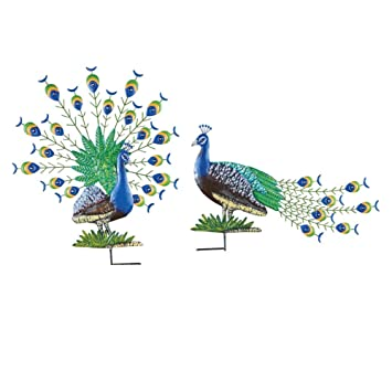 Peacock Garden Decor Yard Stakes   Set Of 2, Blue