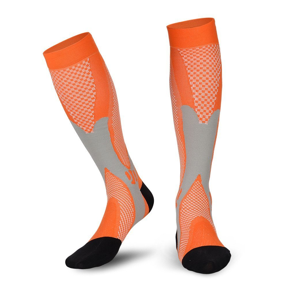 Compression Socks For Women and Men - Best Medical, Nursing, for Running, Athletic, Edema, Diabetic, Varicose Veins, Travel, Pregnancy & Maternity - 15-20mmHg Orange L/XL