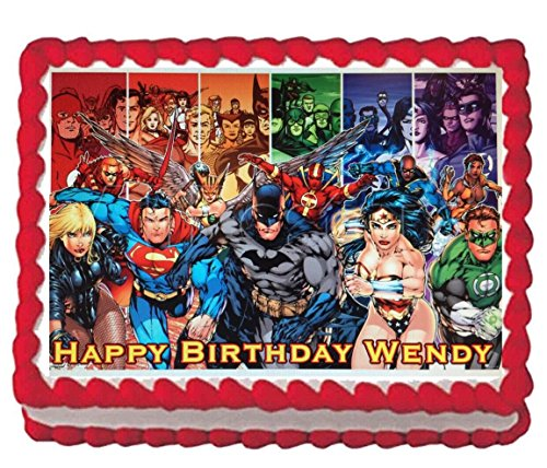 The Justice League Edible Cake Topper Image 1/4 sheet]()