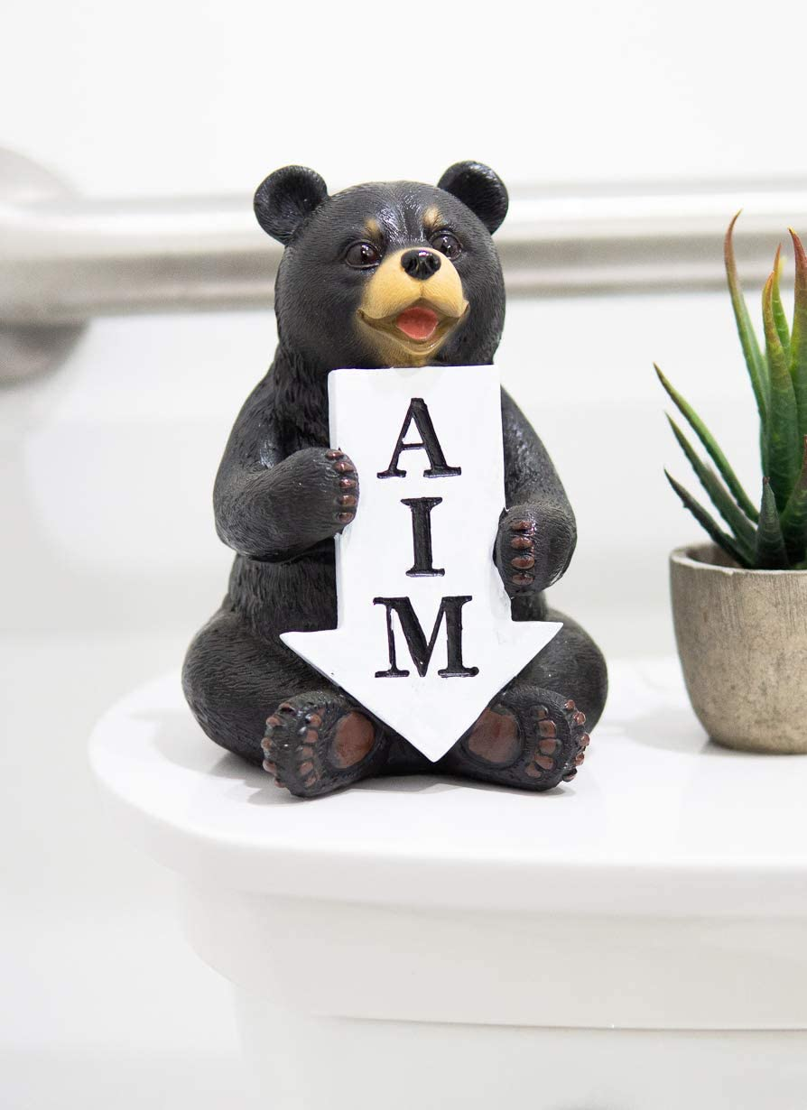 Ebros Gift 'AIM' Rustic Forest Black Bear with Arrow Sign Decorative Toilet Topper Figurine 6