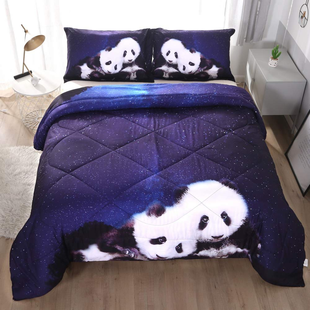 ENCOFT Light Blue Galaxy and Panda 3D Comforter Sets Twin/Full/Queen 3 Pieces, Tencel Cotton Galaxy Panda Comforter Bedding Sets with 2 Pillowcases