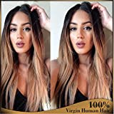 Brazilian Human Hair Glueless Wig 1B/27 Ombre Silky Straight Middle Part Full Lace Wig 130%Density Two Tone (18'', full lace wig)