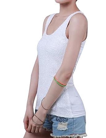 21e75e20 TR Womens Sequins Tank Top Sparkle Glitter Dancing Vest - White - US  X-Small: Amazon.co.uk: Clothing