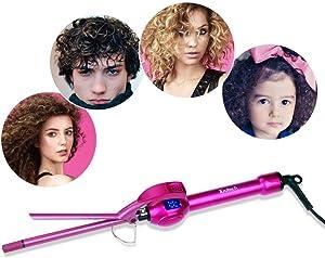 iGutech 9mm Curling Iron Hair Curler,3/8 Inch Small Barrel Curling Iron Ceramic for Long & Short Hair