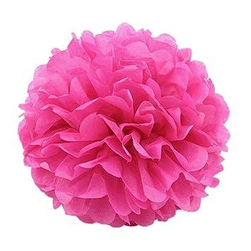 JZK® 10 x fucsia pompones de papel flores 25 cm decoraciones cumpleaños boda comunión bautismo graduado de nacimiento de Halloween Navidad, pompon pon ...