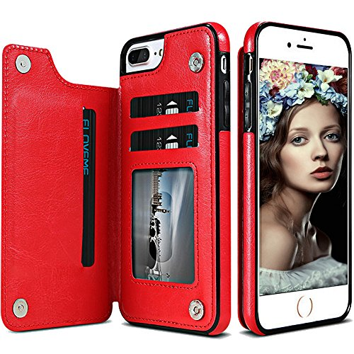 iphone 8 Wallet case for Men,iphone 7 Wallet Case for Women,Auker Slim Fit Sleek Leather Folio Flip Magnet Purse Wallet Case with 3 Card Holder&Stand Shockproof Protective Case for iphone - Card Holder Magnet