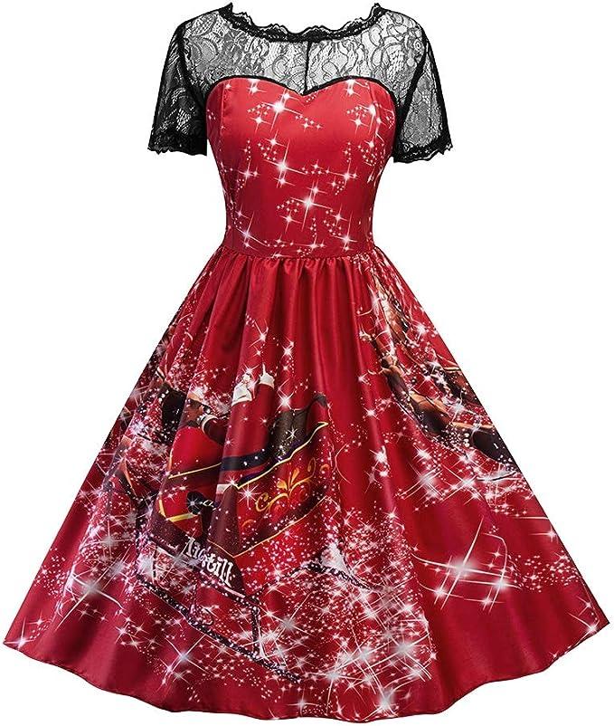 Amazon.com: Vestido de moda para mujer, de Navidad, fiesta ...