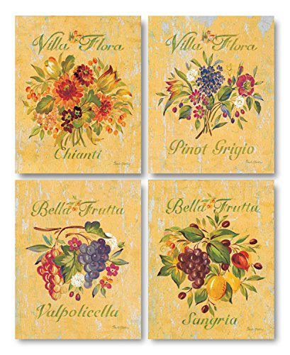Lovely, Rustic Sangria, Valpolicella, Chianti and Pinot Grigio Floral Signs; Four 11X14 Poster Prints