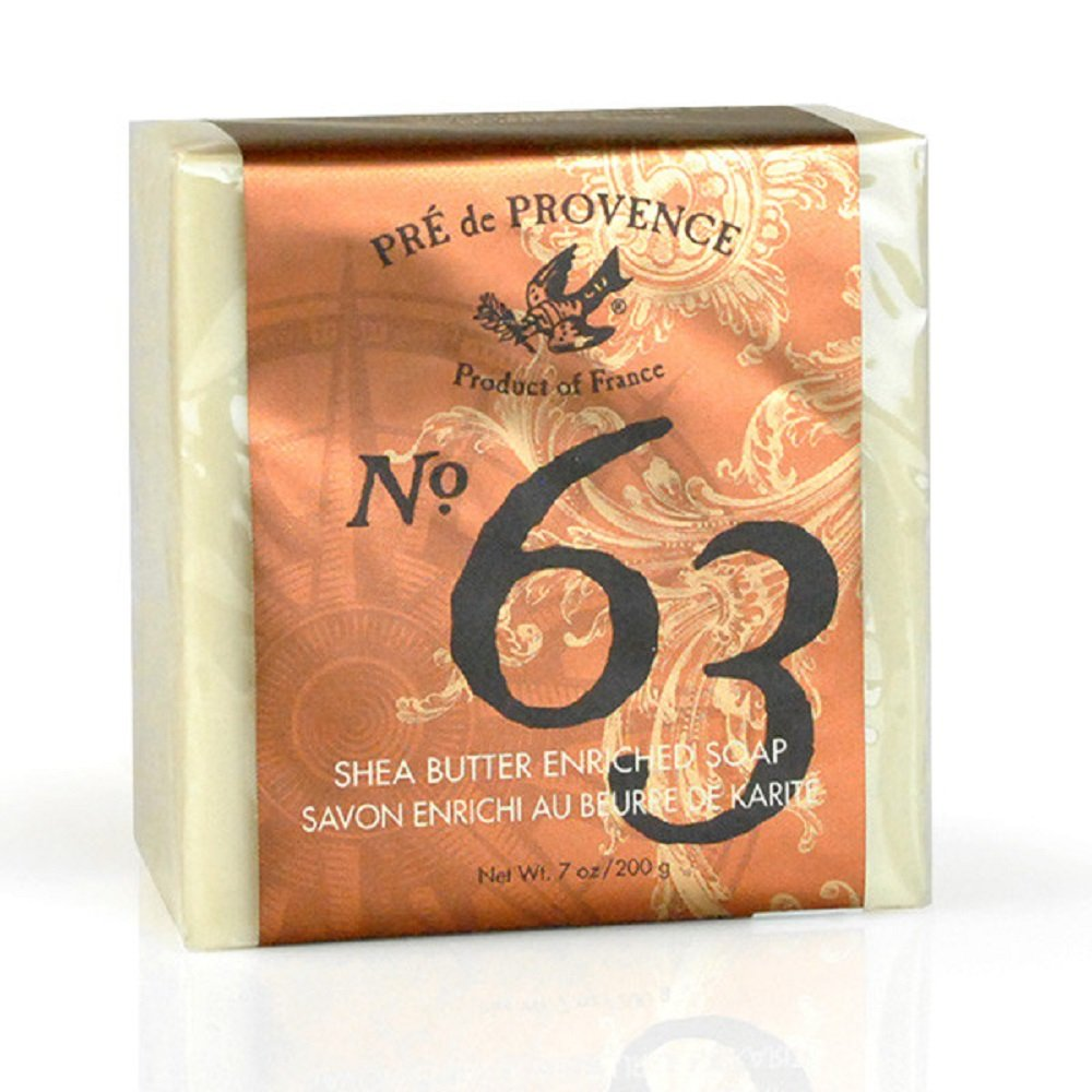 No. 63 Men's 200 Gram Cube Soap, Aromatic, Warm, & Spicy Masculine Fragrance, Quad-Milled For Long Lasting Soap & Enriched With Shea Butter