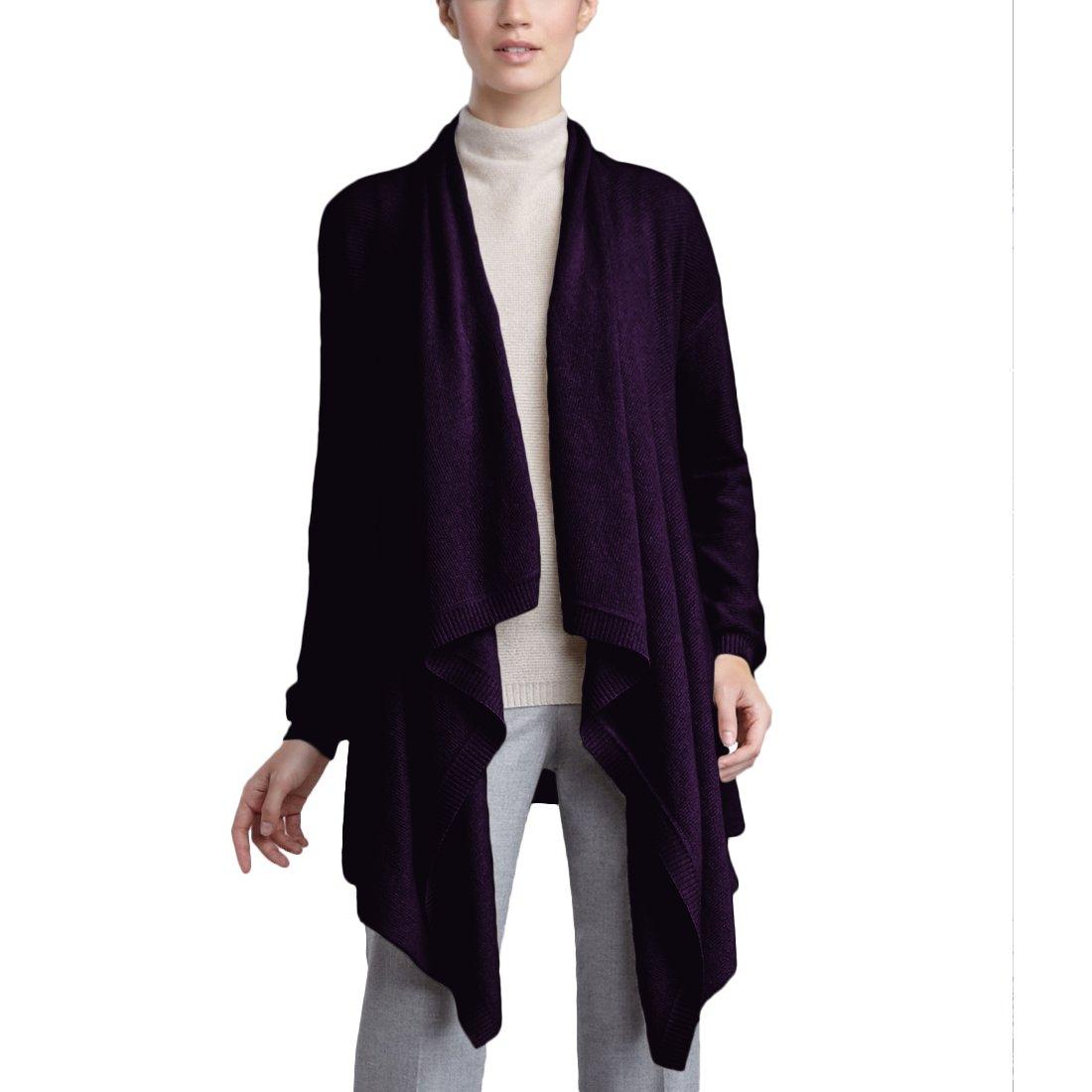 Parisbonbon Women's 100% Cashmere Shawl Collar Cardigan Color Deep Violet Size L