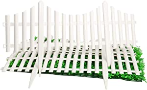 Finderomend 4PCS Garden Fence,Plastic Fence 96 Inch Length White Edgings,Decorative Garden,Flowerbeds Plant Borders