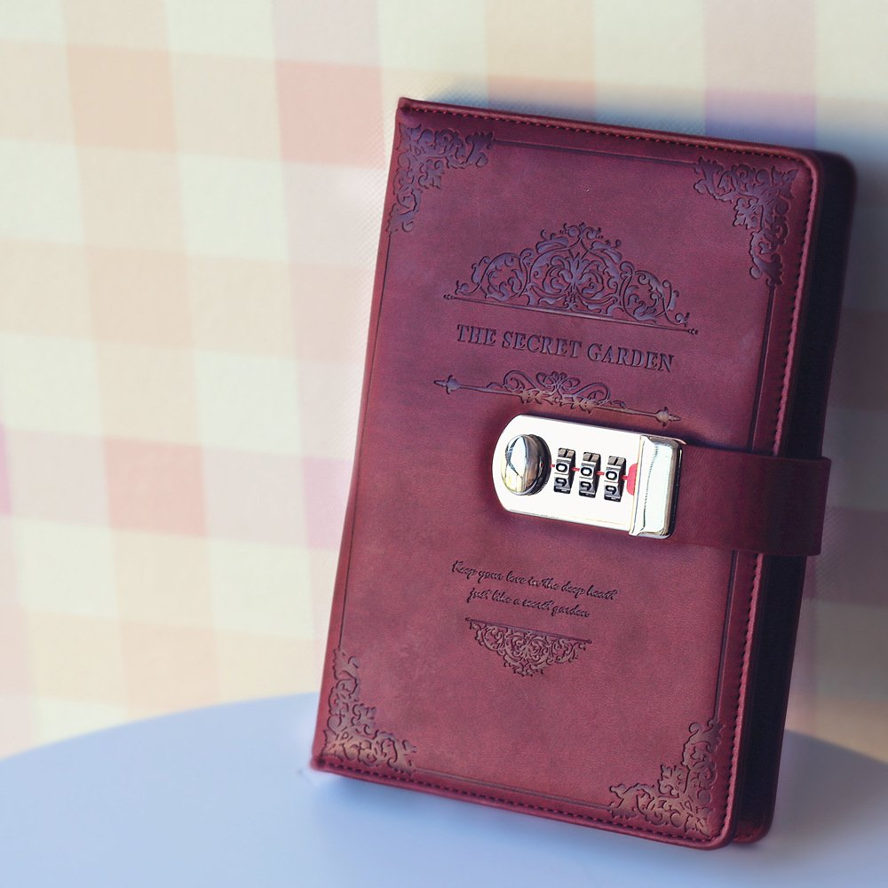 Cahier //Journal Bloc-notes Taille 200x130mm NectaRoy Journal en Cuir PU /écriture Carnet Taille Quotidien Reli/é Avec Serrure /à Combinaison Serrure Mot de Passe Bloc-notes