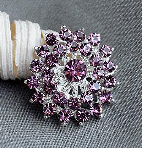 Amethyst Bouquet - 5 Rhinestone Button Embellishment Amethyst Purple Crystal Bridal Hair Comb Wedding Brooch Bouquet Invitation BT322