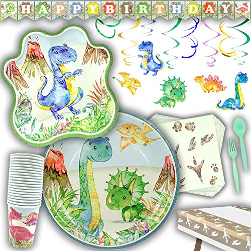 Praity Dinosaur Party Supplies Pack | Serves 20 Guests | Disposable Paper Plates, Napkins, Cutlery & Cups | Birthday Banner, Swirly Decorations & Table Cloth for Boys | 172 Pieces