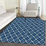 Quatrefoil Print Area rug Ethnic Arabian Tessellation Theme Entwined Curved Motifs of Marrakesh Tile Art Perfect for any Room, Floor Carpet 4'x6' Blue White