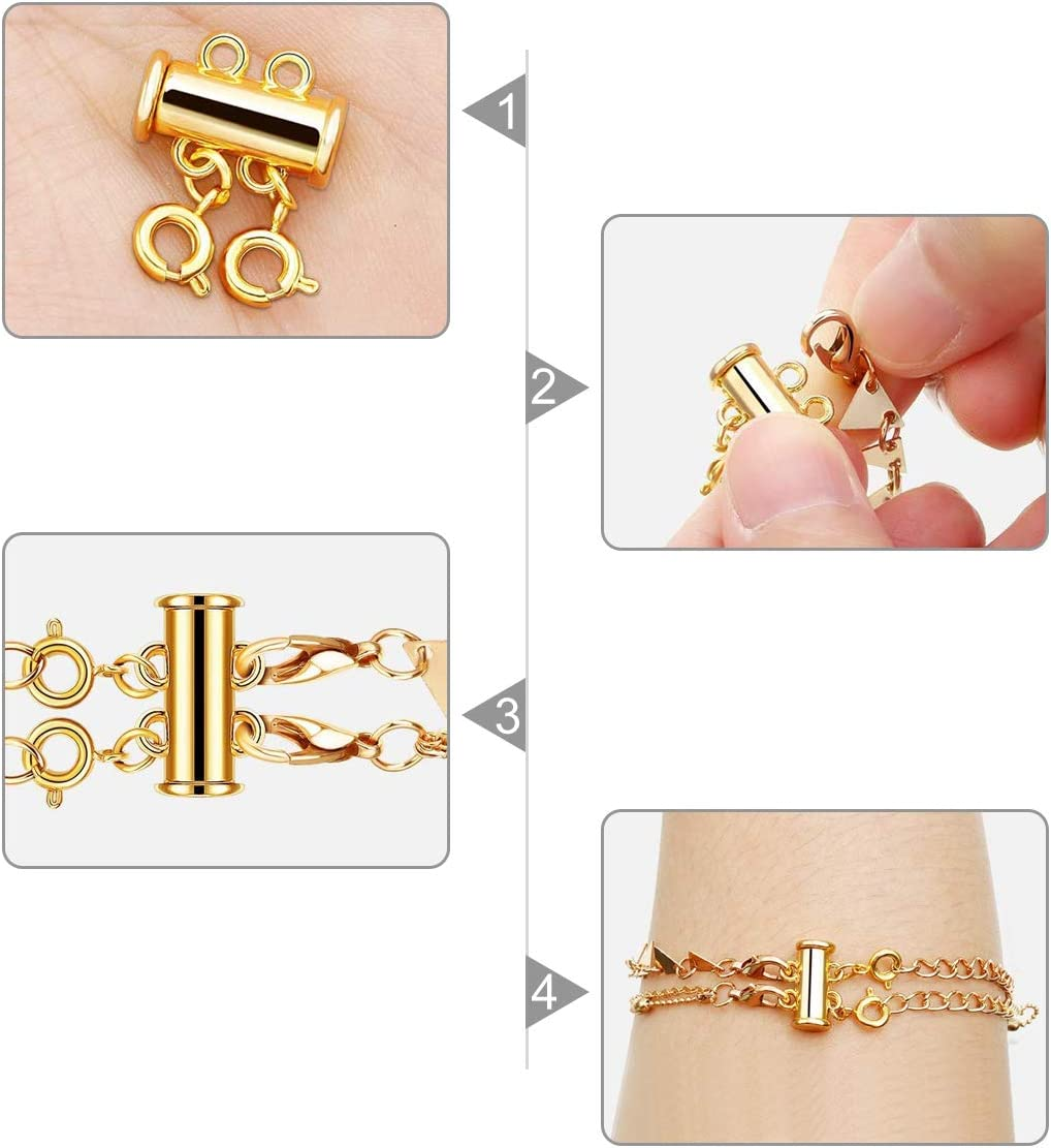 Silver/&Golden Layered Necklace Detangle Magnetic Slide Lock Clasps for Bracelet Necklace Jewelry Making