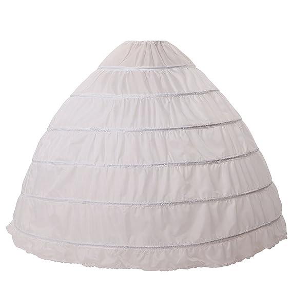 0bee83cf1a9 Jupon Crinoline Mariage de Femme Long Vintage de Mariée 6 Cerveaux Plus -  Blanc - Taille