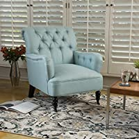 Christopher Knight Home 298304 Randle Haven Tufted Studded Fabric Club Chair, Light Blue