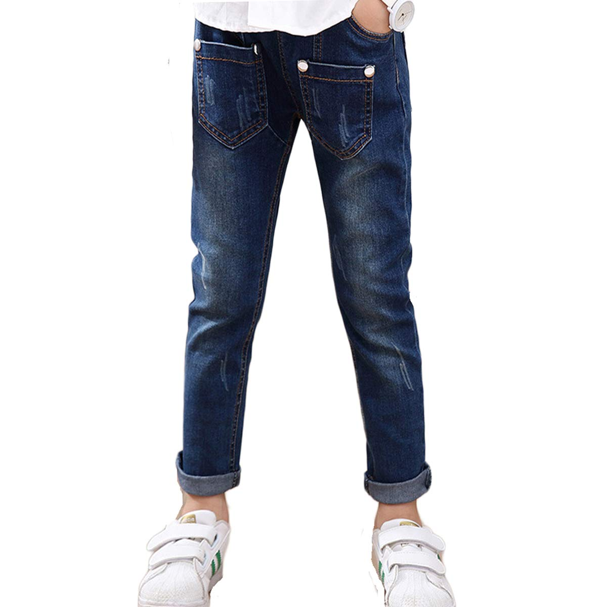 FLOWERKIDS Boys Cotton Washed Jeans Slim Fitted Washed Cotton Stretch Denim Pants 4-12 Years