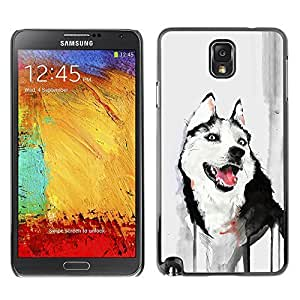 GagaDesign Phone Accessories: Hard Case Cover for Samsung Galaxy Note 3 - Funny Friendly Husky Painting Watercolor