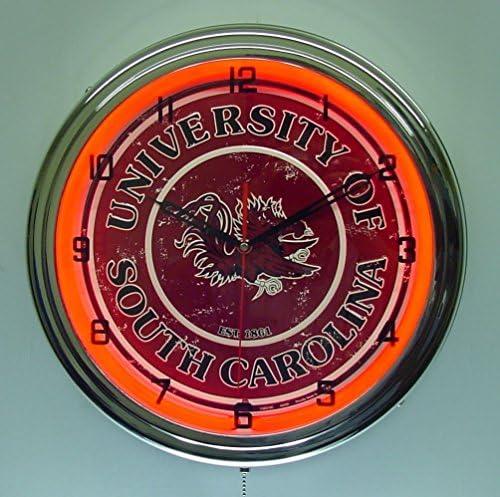 University of South Carolina Gamecocks Logo Sign Neon Lighted Wall Clock Chrome Red