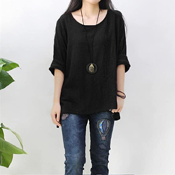 Amazon.com: Plus Size Shirts, Womens Long Sleeve Casual Loose Linen Tops Tee Blouse FORUU: Clothing