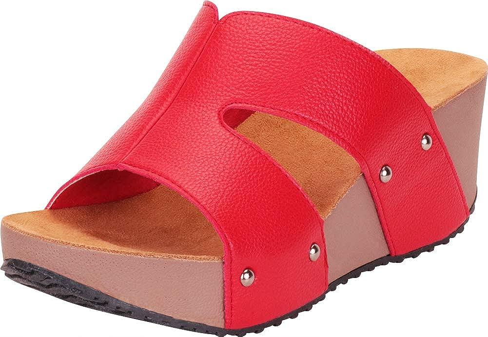 Red Pu Cambridge Select Women's Open Toe Side Cutout Chunky Platform Wedge Slide Sandal