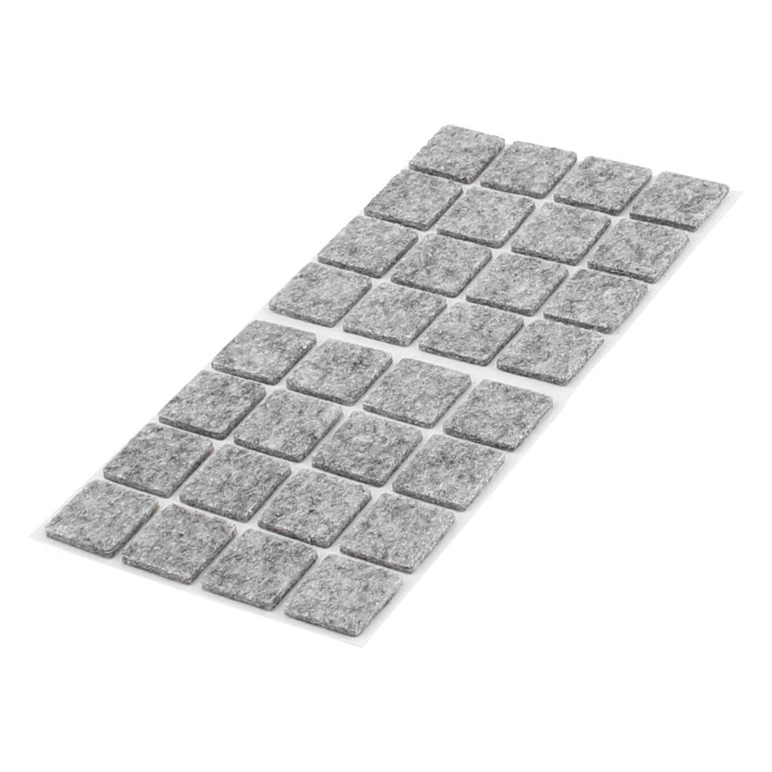 uxcell Table Chair Legs Square Self Adhesive Furniture Felt Pads Cover Protector 18 x 18mm 32pcs Gray a16051100ux0792