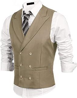 DIKN Men's Slim Fit Double Breasted Suit Vest Business Formal Dress Waistcoat