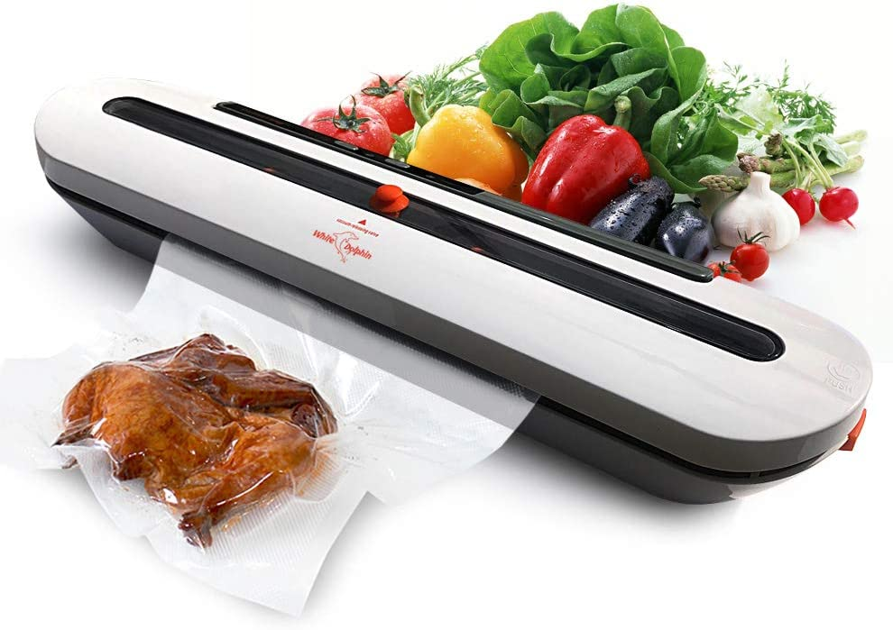 Vacuum Sealer Machine Automatic Air Sealing System for Food Storage with 10 Heat Seal Bags Sous Vide Cooking Commercial Grade Dry Modes Gray