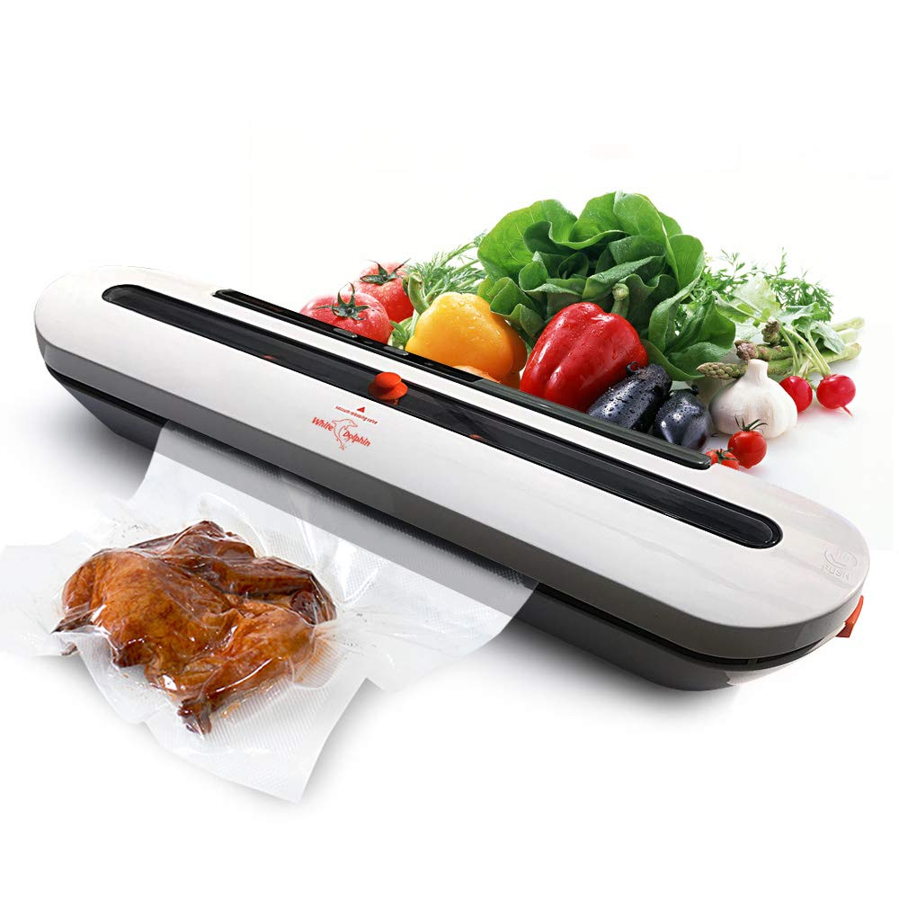White Dolphin Vacuum Sealer Machine Automatic Vacuum Air Sealing System for Food Preservation Starter Kit Dry Moist Food Modes Sous Vide with Packing Plus 10pcs FREE Vacuum Sealer Bags