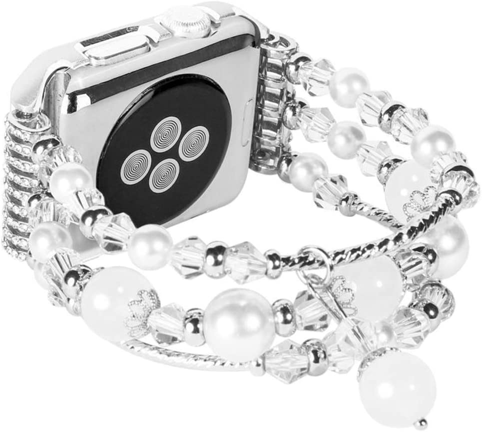 Handmade Bracelet Jewelry Watchbands Compatible with Apple Watch Bands 42mm/44mm, Fixed Size 6.3-7.9, Bracelet Replacement for Iwatch Straps 5/4/3/2 for Women/Girls(42/44MM, White, Short)