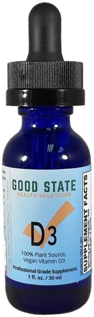 Good State Liquid Vitamin D3 | 100% Plant Source | Vegan | from Algae | Professional Grade Supplement | 1oz Glass Bottle | 1500 i.u. per Serving | 300 Servings