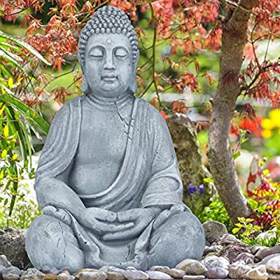 Relaxdays Estatua Buda Sentado XL para Jardín, Cerámica, Gris Claro, 50 cm: Amazon.es: Jardín