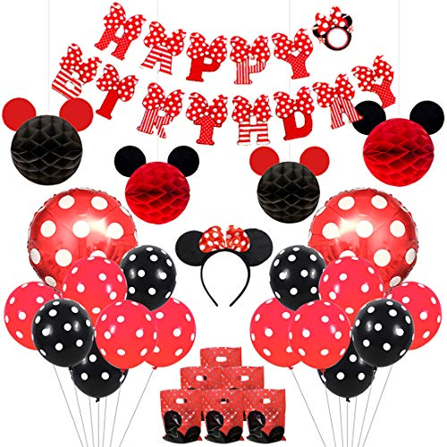 Mickey and Minnie Party Supplies Red and Black Ears Headband Happy Birthday Banner Polka Dot Balloons Set for Minnie Mouse Party Decorations ()