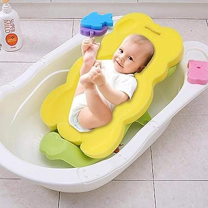 Baño Soporte recién nacidos baño Asiento Asiento Suave bañera ducha esponja Pad para bebé recién nacido amarillo amarillo