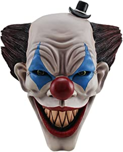 DWK - Killer Clown Creeper - Scary Evil Circus Clown Wall Mounted Hanging Bust Sculpture Halloween Decoration Halloween Haunted House Home Décor Accent, 15-inch
