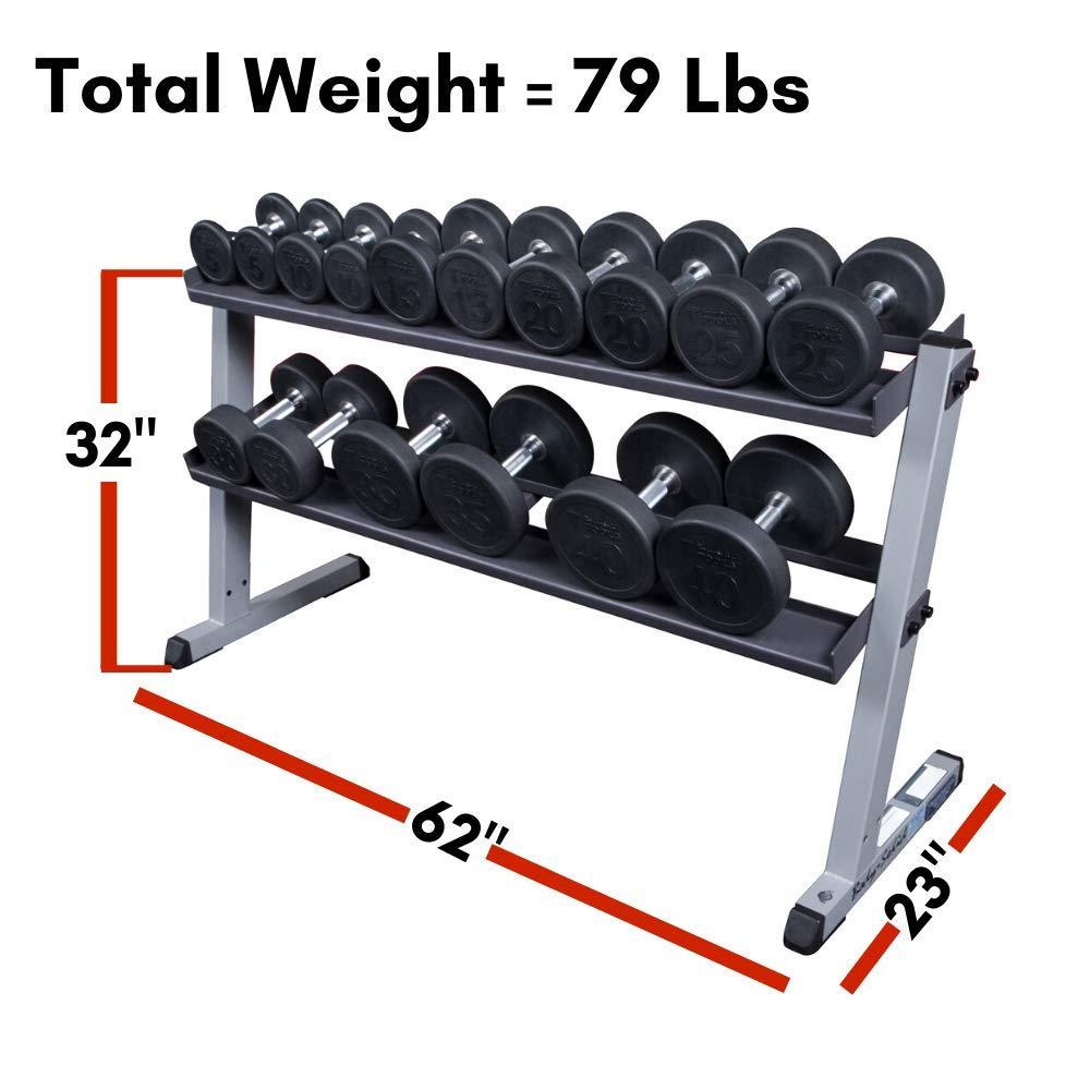 Body Solid - Mueble para mancuernas (2 estantes, ancho de 157,48 ...