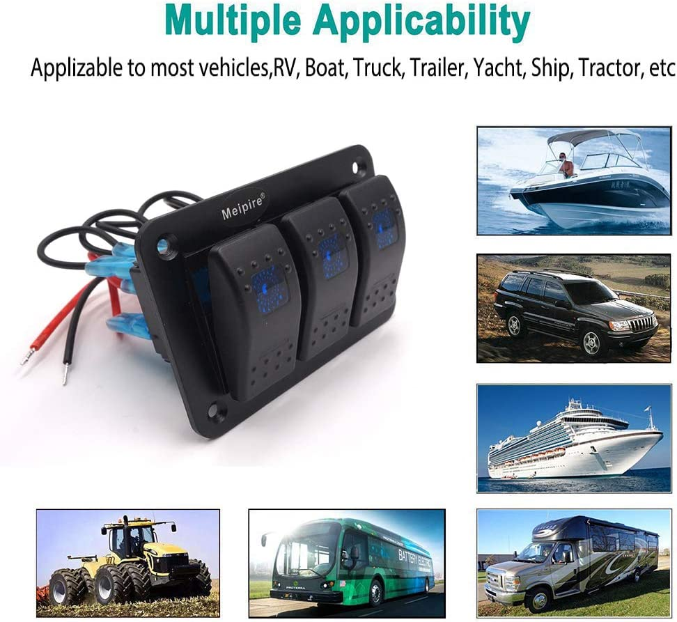 Meipire 4 Gang 12-24V DC On//Off LED Rocker Switch Panel Suit for Car RV Marine Boat