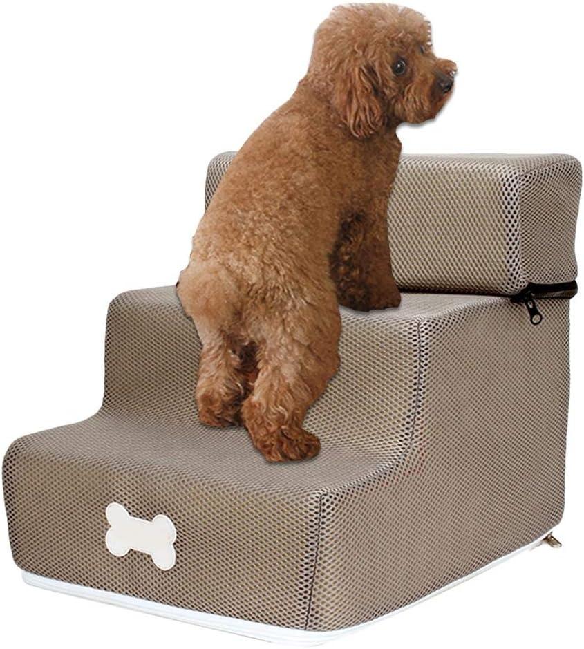 3 Pasos Escaleras Pasos para perros y gatos Escalera de rampa para mascotas Ensamble desmontable Cubierta lavable extraíble Escalera de rampa Escalera para perros y gatos pequeños, 30 x 35 x 30