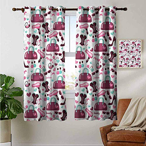 fengruiyanjing Easy Care Privacy Protection Grommet Window Treatment 2 Pieces Home Decor Panels, Girls, Fashion Beauty Corset Purse 72