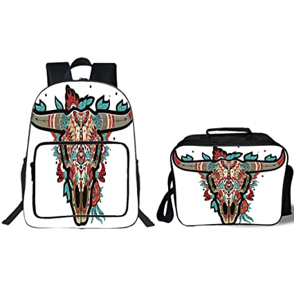 "fc23dc73d1b0e iPrint 19"" School Backpack & Lunch Bag Bundle,Western,Buffalo Sugar  Mexican Skull"