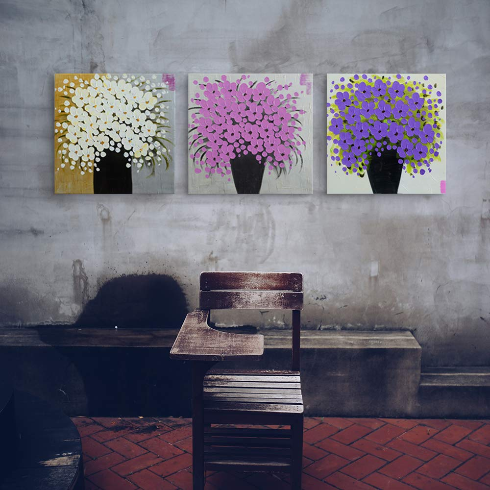 Mon Art Purple Flower Oil Painting Wall Art for Living Room hand painted artwork white flowers pictures handmade paintings wall decoration for girls room bedroom home decor handcraft collection framed /並/行/輸/入/品
